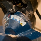Mitre saw set to cut at 12 degree angle