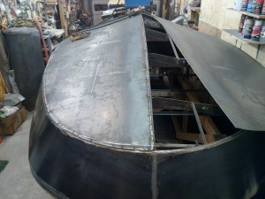 Aft bottom skins going down.