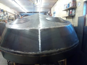 View of turret offsets in finished dry placement.