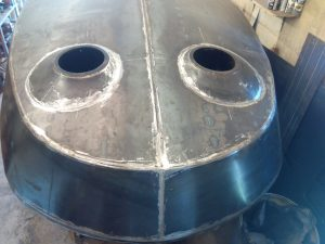 Turret barrels and fairings welded into the hull, .. FINALLY!