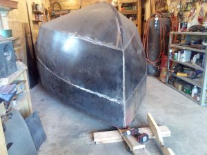 All the outer hull skins welded and ground smooth,... Wahoo!